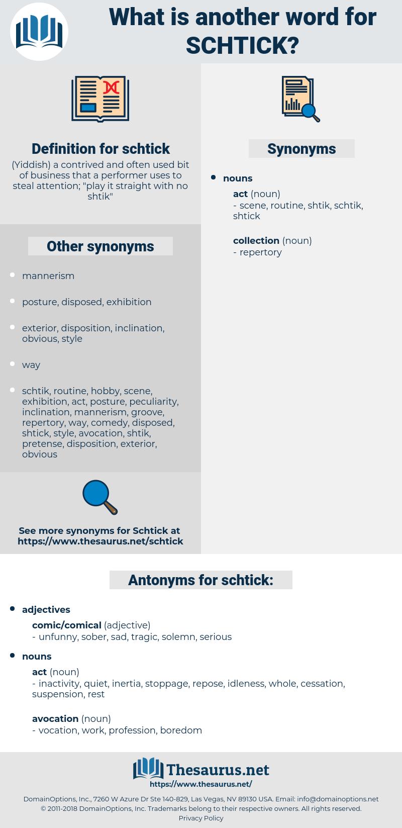 schtick, synonym schtick, another word for schtick, words like schtick, thesaurus schtick