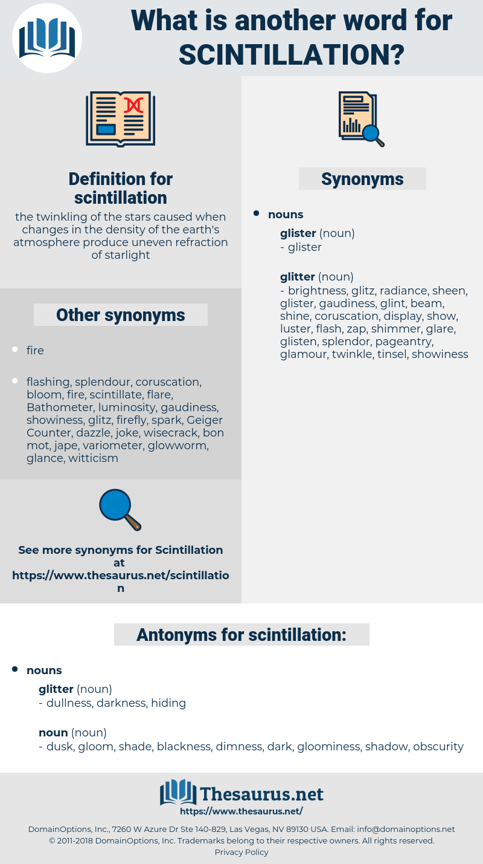 scintillation, synonym scintillation, another word for scintillation, words like scintillation, thesaurus scintillation