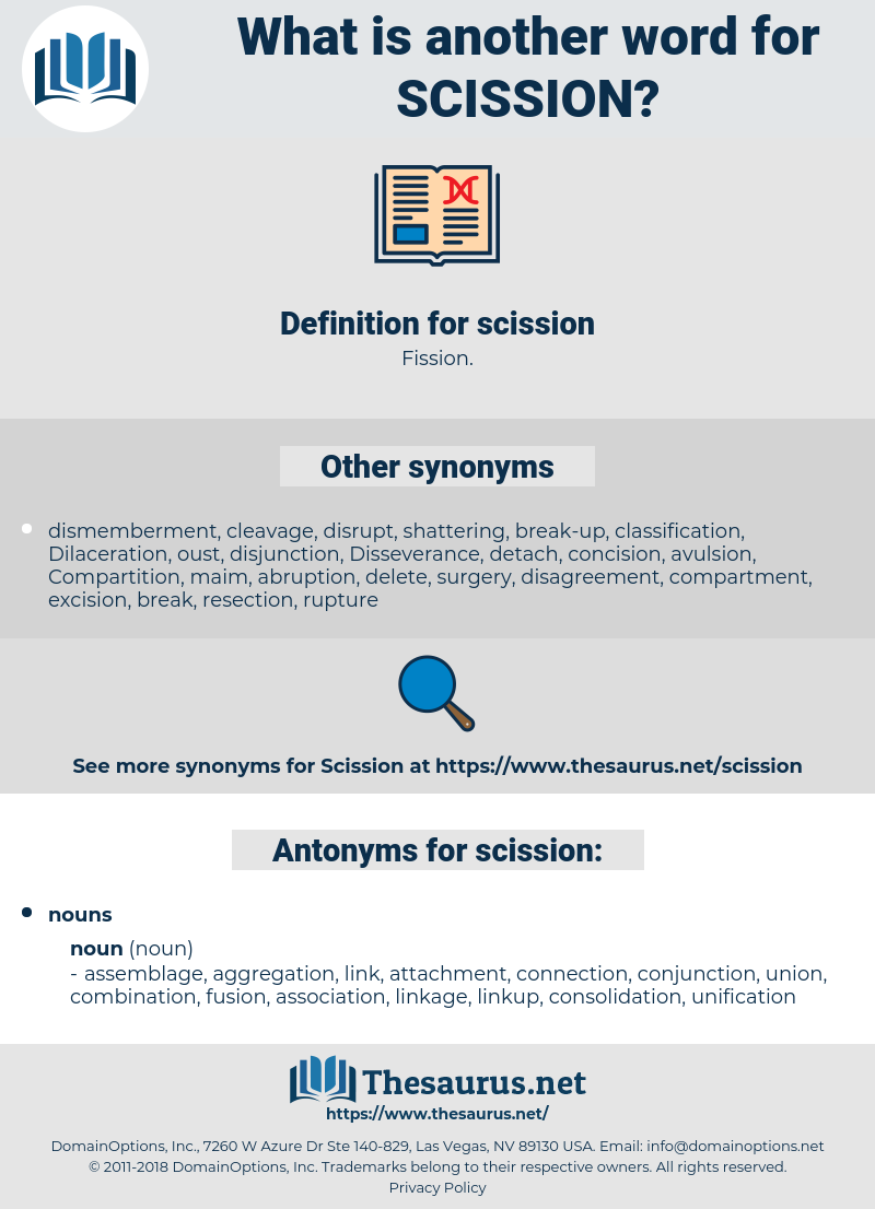 scission, synonym scission, another word for scission, words like scission, thesaurus scission