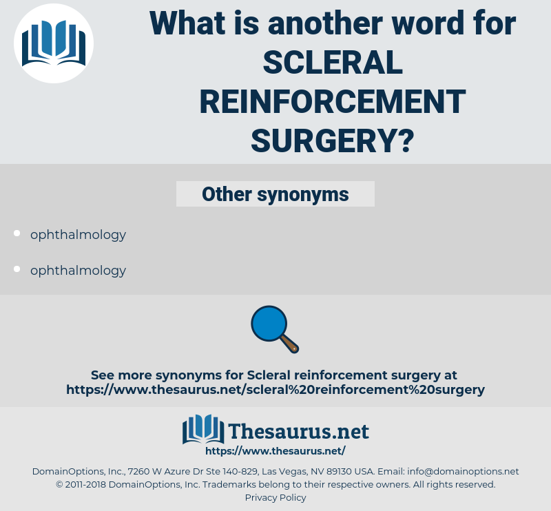 scleral reinforcement surgery, synonym scleral reinforcement surgery, another word for scleral reinforcement surgery, words like scleral reinforcement surgery, thesaurus scleral reinforcement surgery