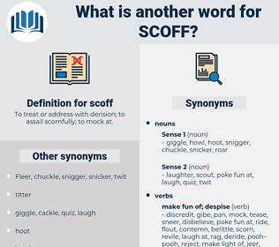 scoff, synonym scoff, another word for scoff, words like scoff, thesaurus scoff