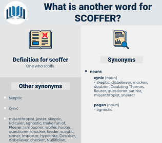 scoffer, synonym scoffer, another word for scoffer, words like scoffer, thesaurus scoffer