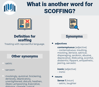 scoffing, synonym scoffing, another word for scoffing, words like scoffing, thesaurus scoffing