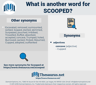 Scooped, synonym Scooped, another word for Scooped, words like Scooped, thesaurus Scooped