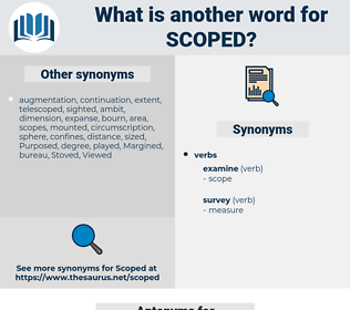 scoped, synonym scoped, another word for scoped, words like scoped, thesaurus scoped