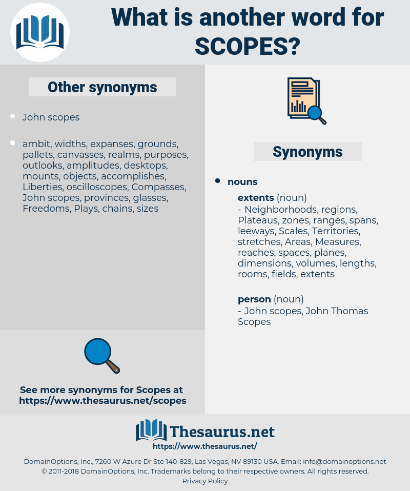 scopes, synonym scopes, another word for scopes, words like scopes, thesaurus scopes