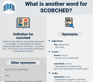 scorched, synonym scorched, another word for scorched, words like scorched, thesaurus scorched