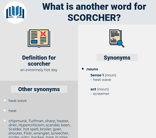 scorcher, synonym scorcher, another word for scorcher, words like scorcher, thesaurus scorcher