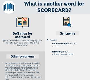 scorecard, synonym scorecard, another word for scorecard, words like scorecard, thesaurus scorecard