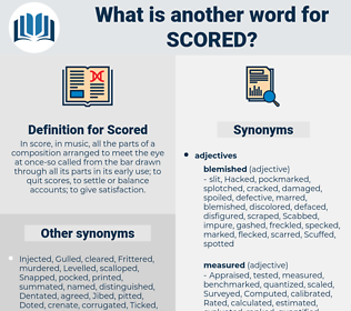 Scored, synonym Scored, another word for Scored, words like Scored, thesaurus Scored
