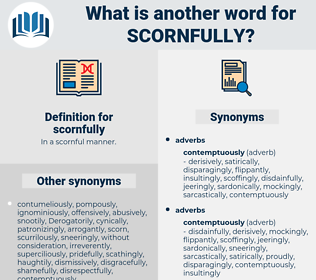 scornfully, synonym scornfully, another word for scornfully, words like scornfully, thesaurus scornfully