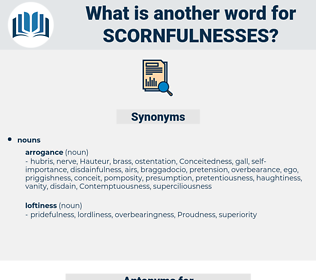 scornfulnesses, synonym scornfulnesses, another word for scornfulnesses, words like scornfulnesses, thesaurus scornfulnesses