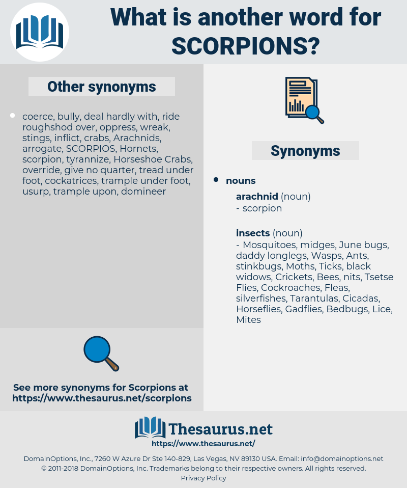 Scorpions, synonym Scorpions, another word for Scorpions, words like Scorpions, thesaurus Scorpions