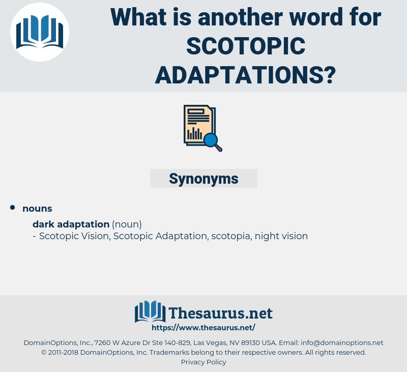 scotopic adaptations, synonym scotopic adaptations, another word for scotopic adaptations, words like scotopic adaptations, thesaurus scotopic adaptations