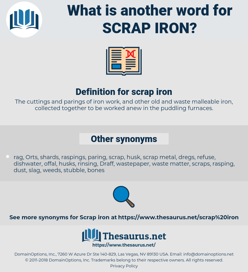 scrap iron, synonym scrap iron, another word for scrap iron, words like scrap iron, thesaurus scrap iron