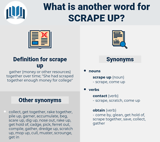scrape up, synonym scrape up, another word for scrape up, words like scrape up, thesaurus scrape up