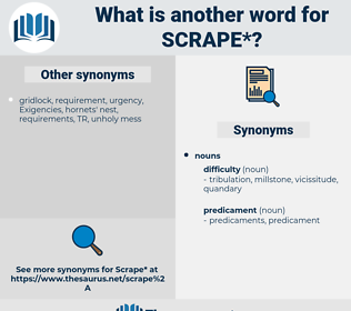 scrape, synonym scrape, another word for scrape, words like scrape, thesaurus scrape