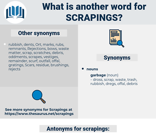 scrapings, synonym scrapings, another word for scrapings, words like scrapings, thesaurus scrapings