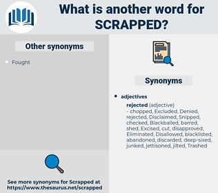 scrapped, synonym scrapped, another word for scrapped, words like scrapped, thesaurus scrapped