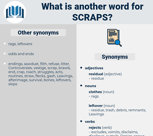 scraps, synonym scraps, another word for scraps, words like scraps, thesaurus scraps