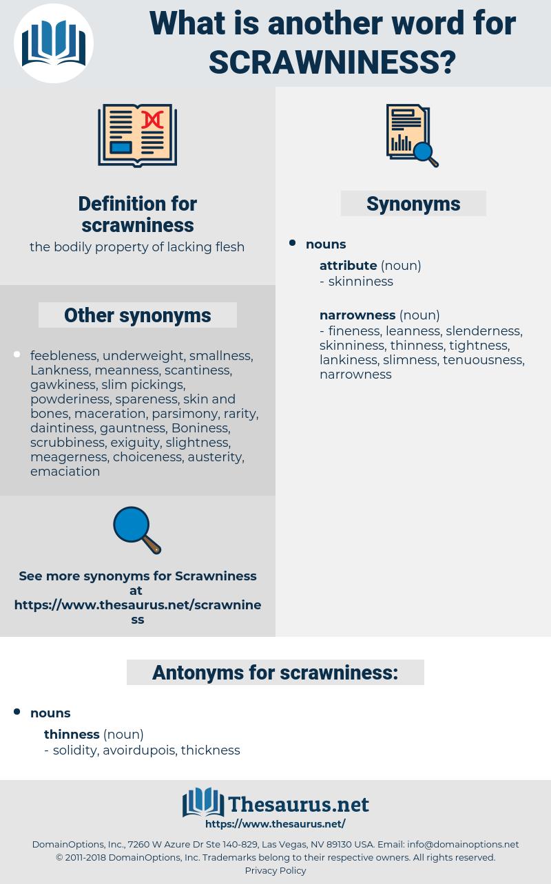 scrawniness, synonym scrawniness, another word for scrawniness, words like scrawniness, thesaurus scrawniness