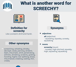 screechy, synonym screechy, another word for screechy, words like screechy, thesaurus screechy