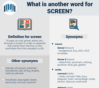 screen, synonym screen, another word for screen, words like screen, thesaurus screen