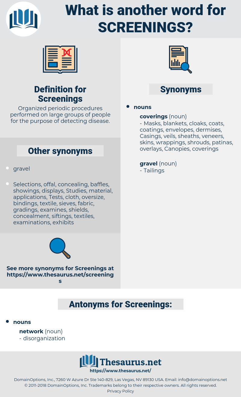 Screenings, synonym Screenings, another word for Screenings, words like Screenings, thesaurus Screenings