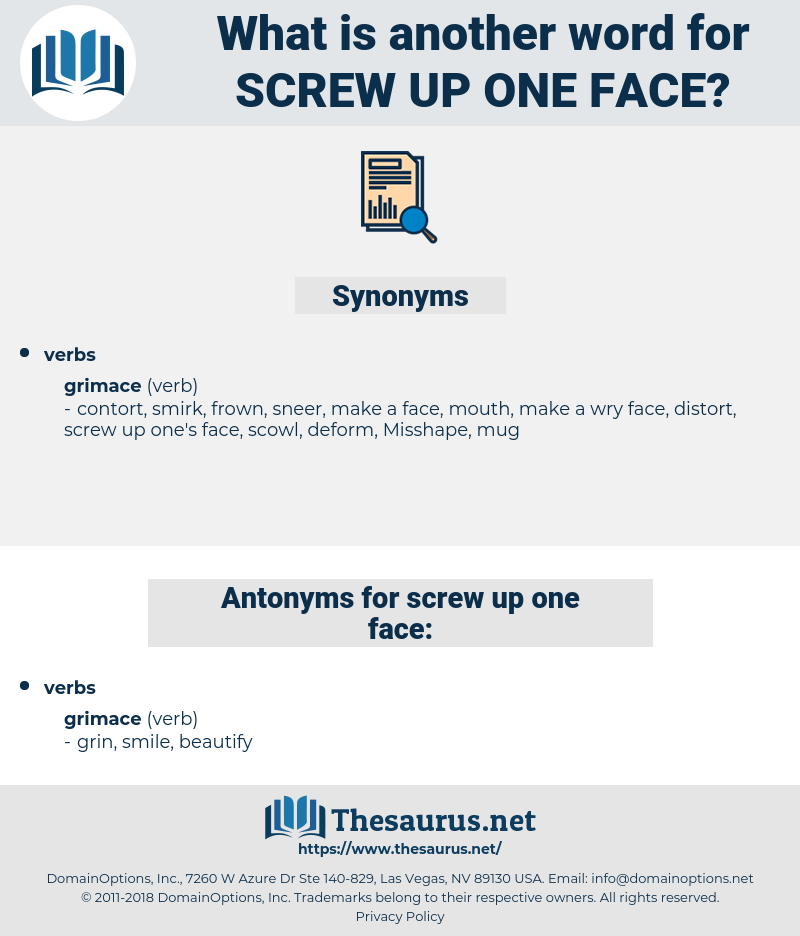screw up one face, synonym screw up one face, another word for screw up one face, words like screw up one face, thesaurus screw up one face