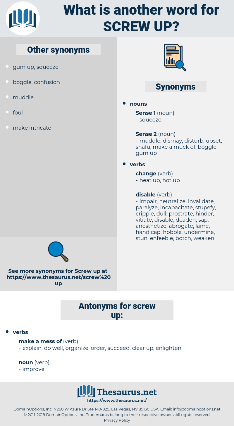 screw up, synonym screw up, another word for screw up, words like screw up, thesaurus screw up