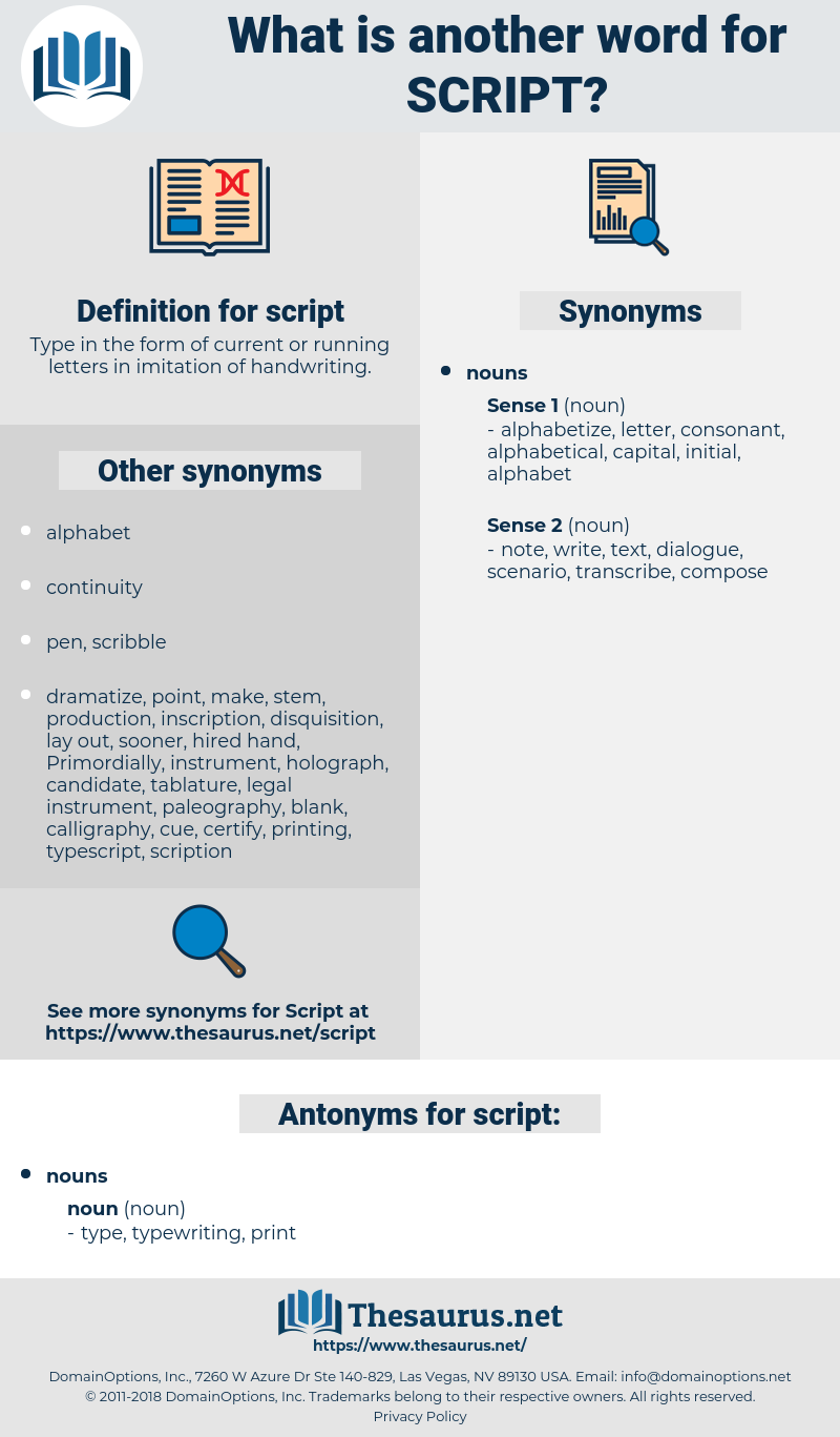 script, synonym script, another word for script, words like script, thesaurus script