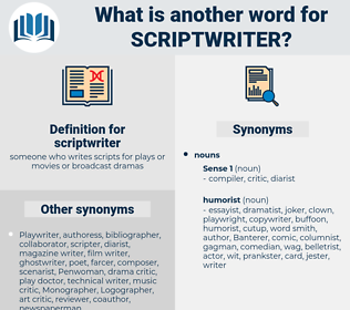 scriptwriter, synonym scriptwriter, another word for scriptwriter, words like scriptwriter, thesaurus scriptwriter