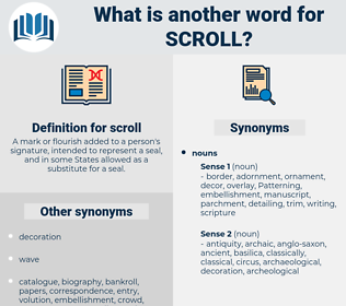 scroll, synonym scroll, another word for scroll, words like scroll, thesaurus scroll