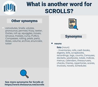 scrolls, synonym scrolls, another word for scrolls, words like scrolls, thesaurus scrolls