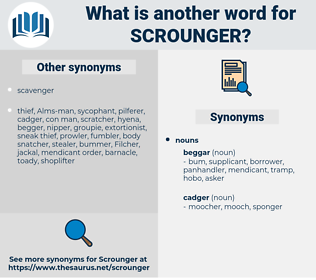 scrounger, synonym scrounger, another word for scrounger, words like scrounger, thesaurus scrounger