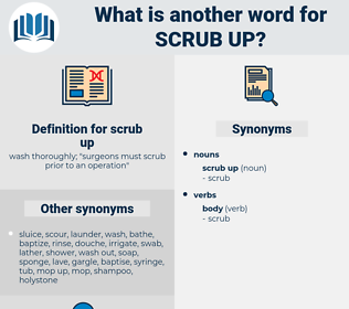 scrub up, synonym scrub up, another word for scrub up, words like scrub up, thesaurus scrub up