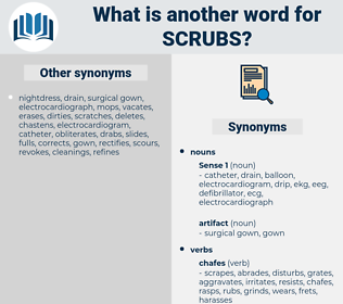 scrubs, synonym scrubs, another word for scrubs, words like scrubs, thesaurus scrubs