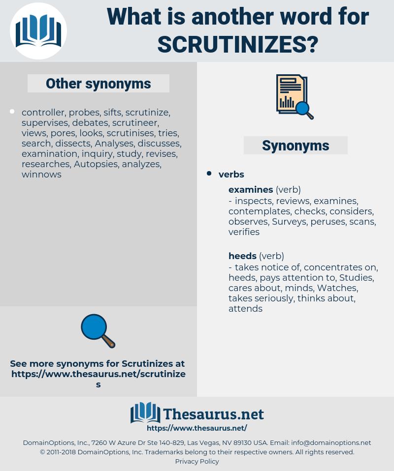 scrutinizes, synonym scrutinizes, another word for scrutinizes, words like scrutinizes, thesaurus scrutinizes
