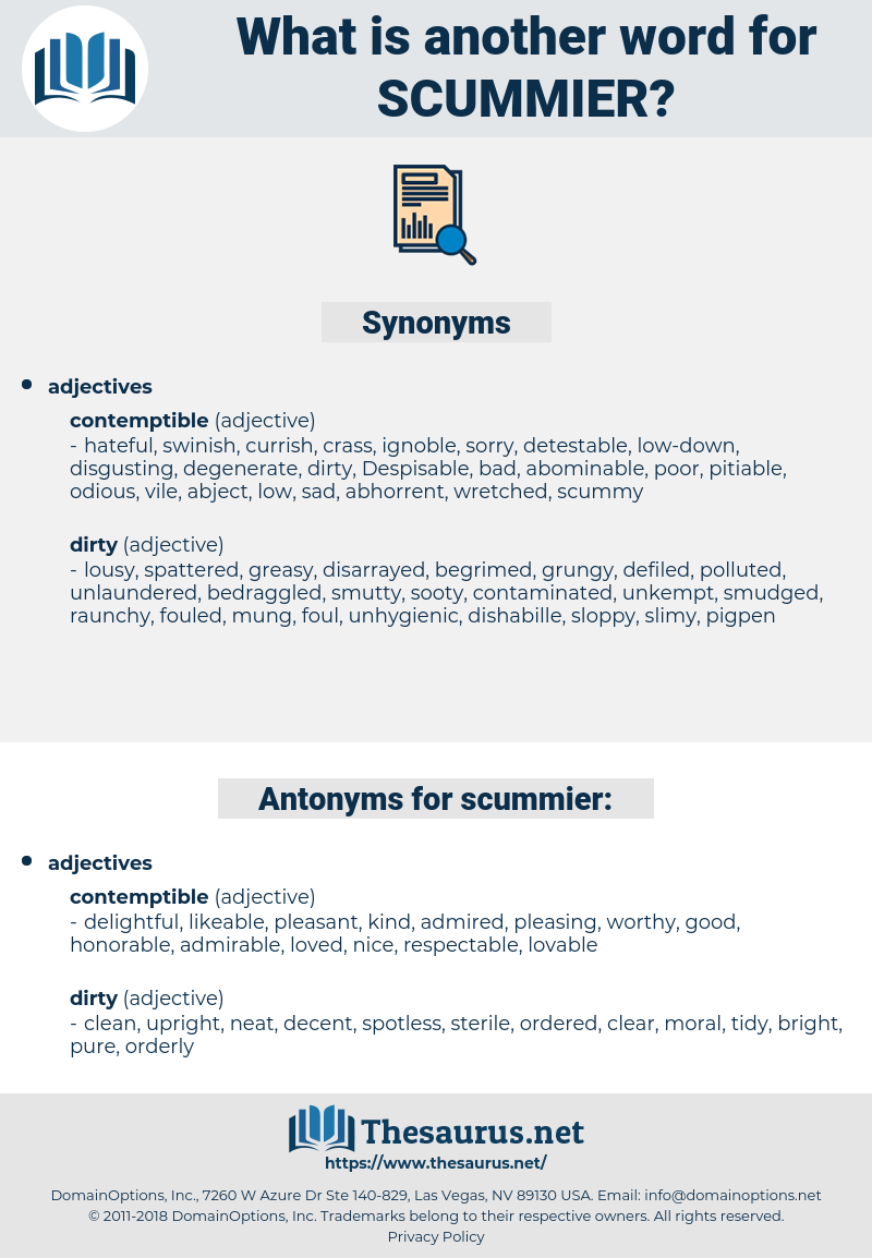 scummier, synonym scummier, another word for scummier, words like scummier, thesaurus scummier