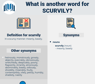 scurvily, synonym scurvily, another word for scurvily, words like scurvily, thesaurus scurvily