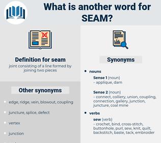 seam, synonym seam, another word for seam, words like seam, thesaurus seam