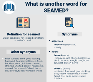 seamed, synonym seamed, another word for seamed, words like seamed, thesaurus seamed