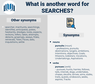 searches, synonym searches, another word for searches, words like searches, thesaurus searches