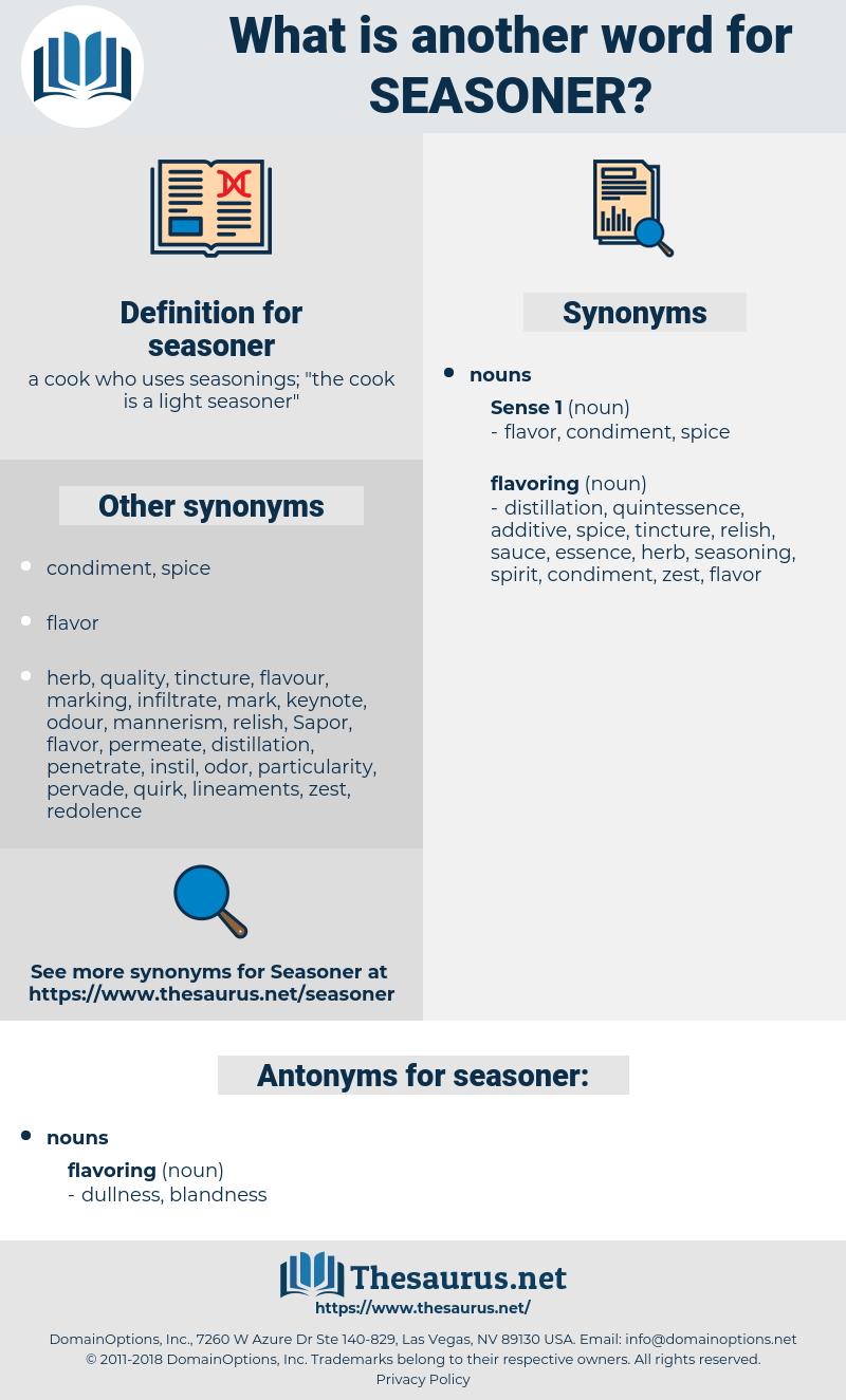 seasoner, synonym seasoner, another word for seasoner, words like seasoner, thesaurus seasoner