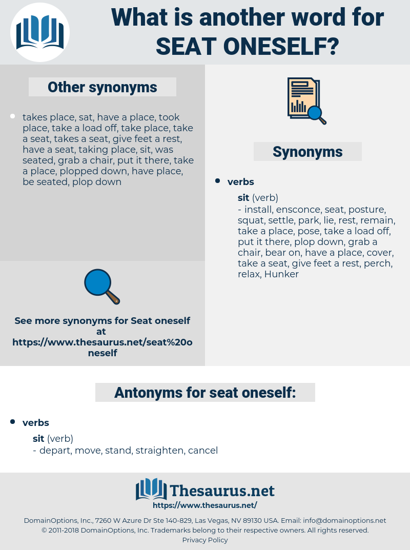 seat oneself, synonym seat oneself, another word for seat oneself, words like seat oneself, thesaurus seat oneself