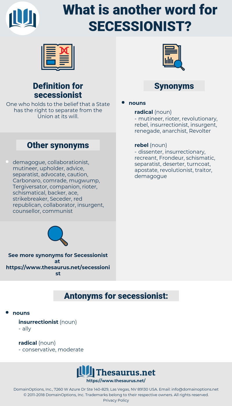 secessionist, synonym secessionist, another word for secessionist, words like secessionist, thesaurus secessionist