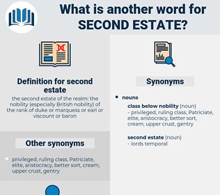 second estate, synonym second estate, another word for second estate, words like second estate, thesaurus second estate