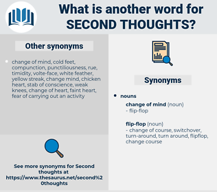 second thoughts, synonym second thoughts, another word for second thoughts, words like second thoughts, thesaurus second thoughts