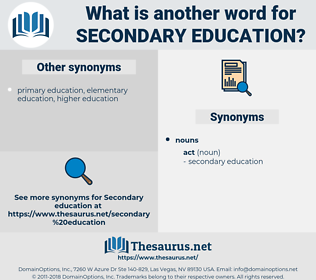 secondary education, synonym secondary education, another word for secondary education, words like secondary education, thesaurus secondary education