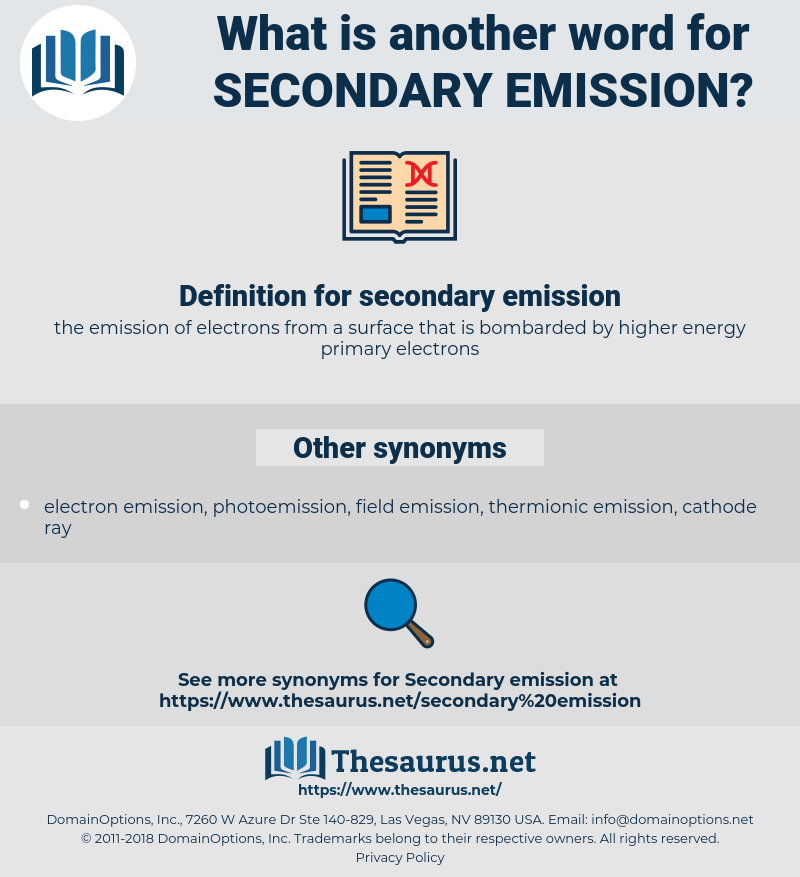 secondary emission, synonym secondary emission, another word for secondary emission, words like secondary emission, thesaurus secondary emission